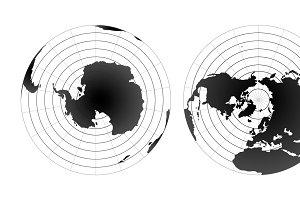 Arctic and antarctic poles maps