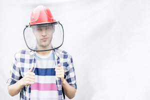 portrait of male worker in casual in