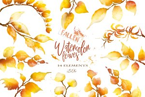 Watercolor Fallen Leaves Clip Art