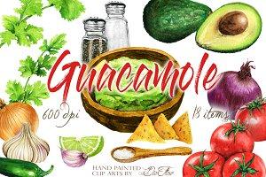 Guacamole Watercolor Clip Art