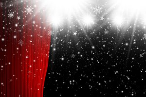Red stage curtain with spotlight