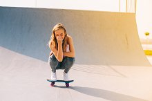 Beautiful girl with skateboard by  in People