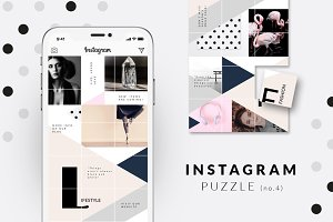 Instagram PUZZLE template -Geometric