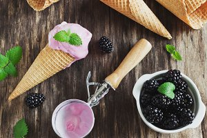 ice cream and blackberries