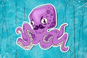 Funny octopus with mustache