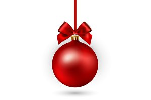 Red Christmas ball with ribbon and