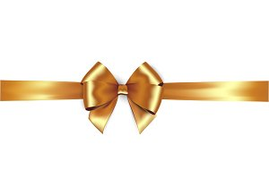 Shiny golden satin ribbon and gold