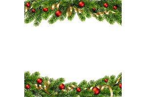 Christmas green Pine Branches and