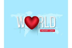 World heart day concept. 3d red