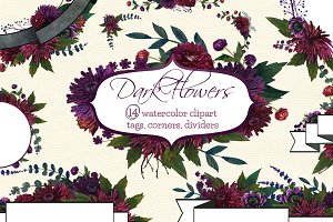 Dark Flowers tags clipart