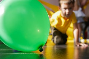 Green balloon and amazed unfocused