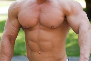 Naked shirtless fitness man -