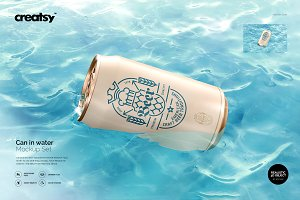 Can in Water Mockup Set