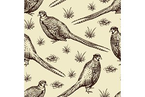 Seamless pattern with pheasants.