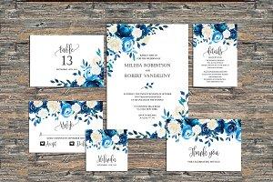 Navy Wedding Invitation Blue Roses