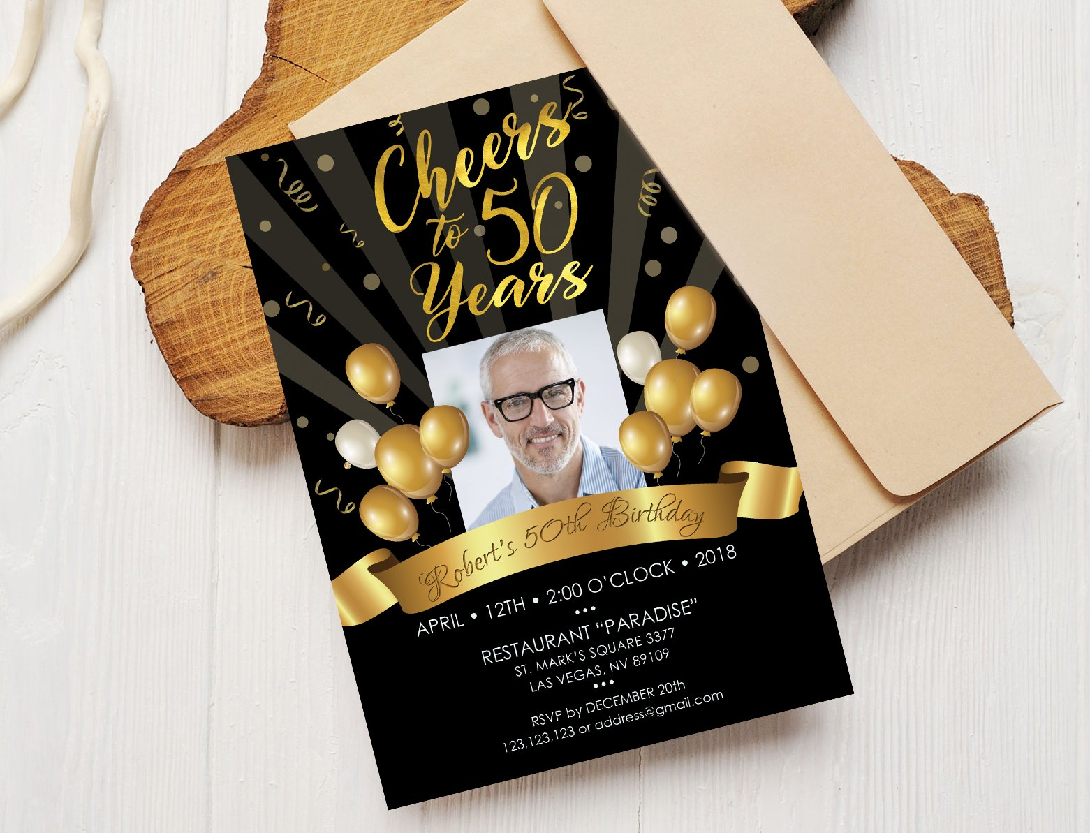 50th Birthday Invitation Black Gold Templates Creative Market