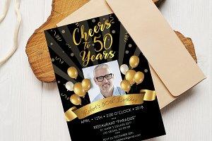 50th Birthday Invitation Black Gold