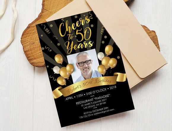 50th Birthday Invitation Black Gold Templates Creative Market