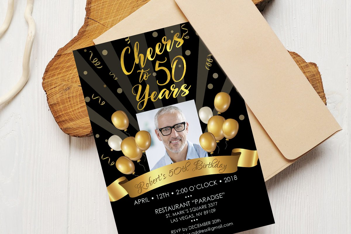 50th Birthday Invitation Black Gold Invitation Templates