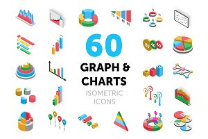60 Graph and Charts Isometric Icons