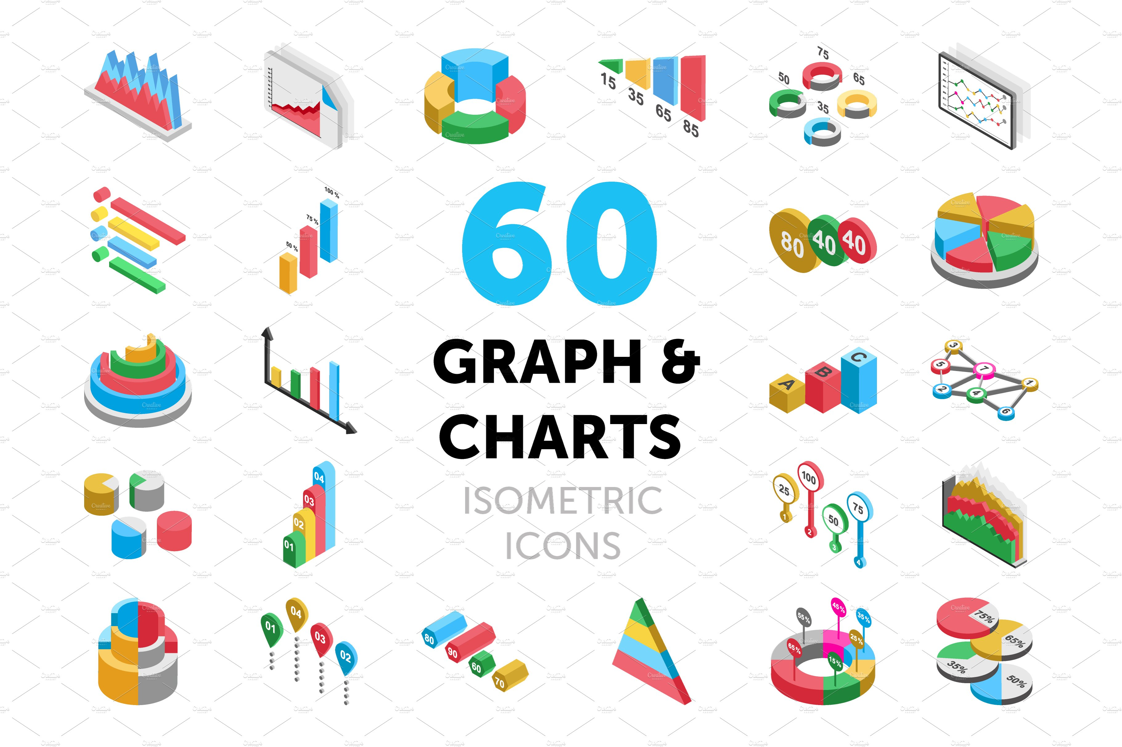 60 graph and charts isometric icons ~ icons ~ creative market