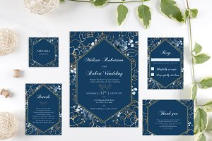 Navy and Gold Flower Wedding Invite
