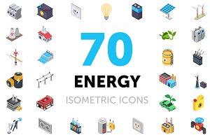 70 Energy Isometric Icons Set