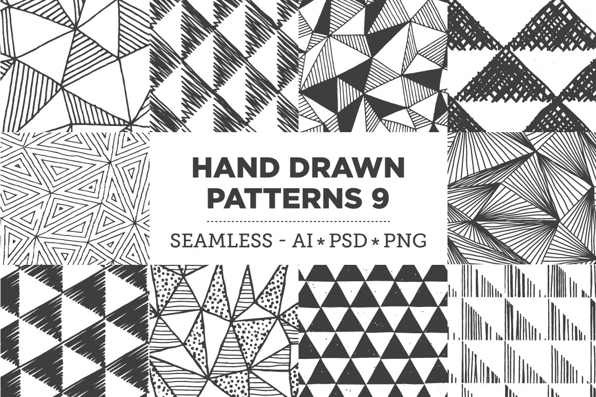 Hand Drawn Patterns 9 Triangles Graphic Patterns