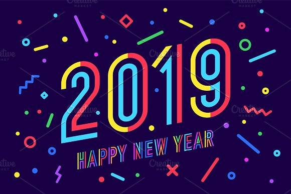 2019 happy new year greeting card illustrations