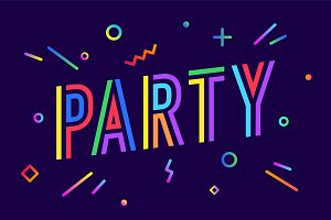 Party. Greeting card, banner, poster