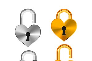 Realistic padlocks in heart shape