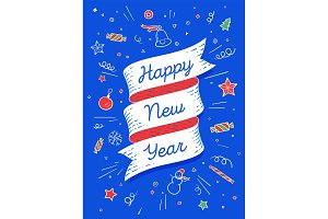Happy new year. Ribbon banner in