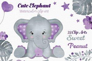Purple gray peanut elephant clipart