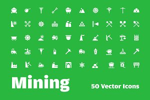 50 Mining and Exploring Tools Icons