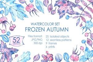 Frozen autumn! Watercolor set.