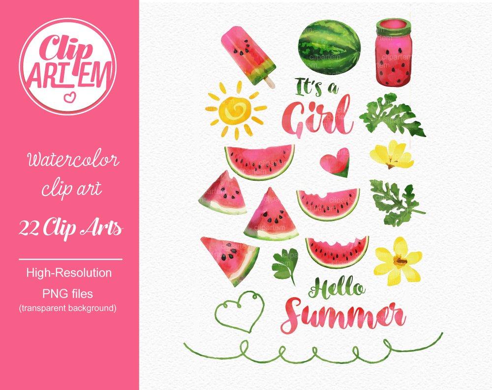 Summer watermelon. Girl clipart da
