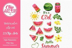 Summer watermelon girl clipart 3da
