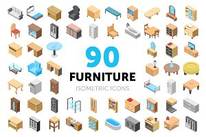 90 Furniture Isometric Icons