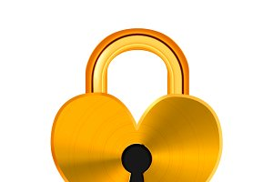 Closed realistic golden padlock