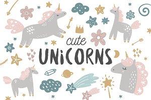 Cute unicorns set