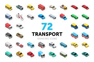 72 Transport Isometric Icons
