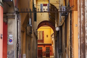 small typical street in Bologna