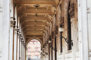 gallery of arcades in Bologna, Italy