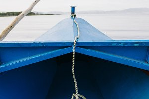 Rope tied on the bow of a boat