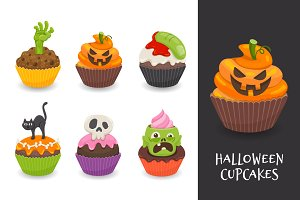 Creepy halloween cupcake set
