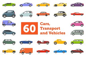 60 Cars, Transport and Vehicle Icons