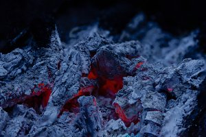 Bonfire fire charcoal close up