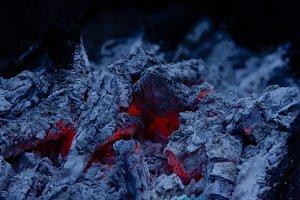 Bonfire fire charcoal close up