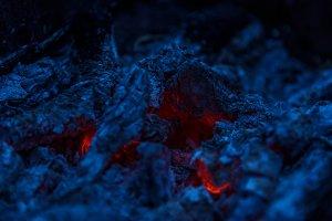 Bonfire charcoal close up
