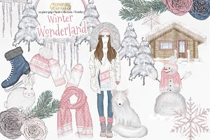 Winter wonderland clipart collection